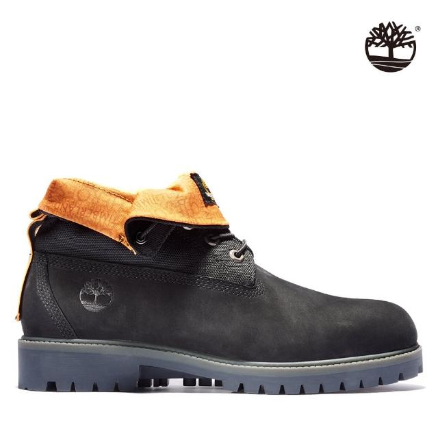 Timberland【Timberland】男款黑色磨砂革翻摺靴(A2DQH001)