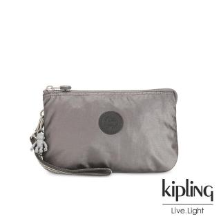 【KIPLING】低調質感金屬灰褐色多層配件包-CREATIVITY XL