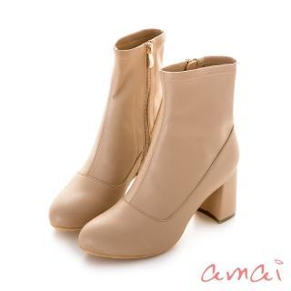 【amai】巴黎小名媛皮革襪靴(奶茶)