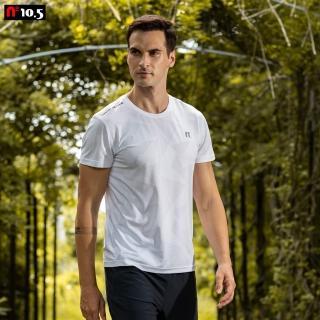 【N10.5】男款幾合紋機能透氣排汗T恤運動上衣_白色 N20J21107-90(運動上衣T恤)