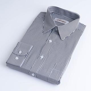 【CHINJUN】防皺襯衫長袖、黑白相間條紋、編號:8049(男性