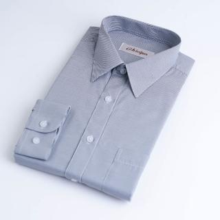 【CHINJUN】防皺襯衫長袖、灰細條紋、編號:k201(男性
