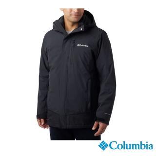 【Columbia 哥倫比亞】男款-Omni-TECH 防水鋁點保暖兩件式羽絨外套-黑色(UWM09000BK / 機能.防水.發熱)