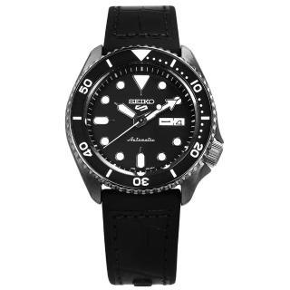 【SEIKO 精工】5 Sports 機械錶 自動上鍊 壓紋矽膠手錶 黑色 41mm(4R36-07G0X.SRPD65K3)
