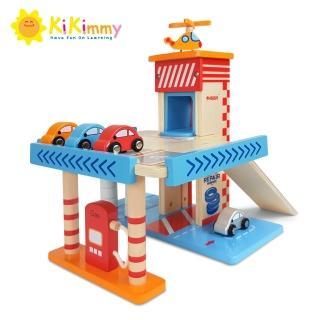 【kikimmy】木製汽車加油站(附配件6件)
