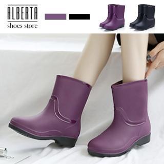 【Alberta】雨鞋-防水材質 低筒純色簡約 霧面質感 短筒短靴 雨靴 雨鞋