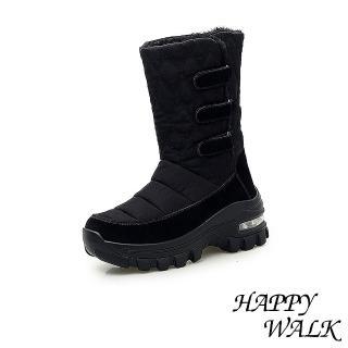【HAPPY WALK】保暖防寒機能個性魔鬼黏休閒氣墊雪靴(黑)