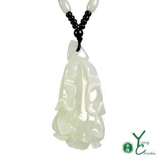【YC 寶石】A貨翡翠冰種雙面立體雕刻百財聚來潔淨白菜項鍊(4153)