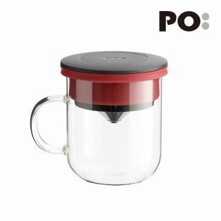 【PO:Selected】丹麥研磨過濾咖啡玻璃杯350ml 2.0(黑+紅)