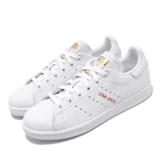 【adidas 愛迪達】休閒鞋 Stan Smith 愛心 女鞋 愛迪達 三葉草 史密斯 皮革 情人節 穿搭 白紅(FV8260)