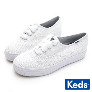 【Keds】TRIPLE 刺繡雛菊厚底休閒鞋(白)