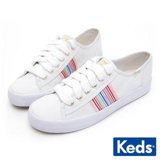 【Keds】Keds KICKSTART 彩虹條紋織帶綁帶休閒鞋(白色)