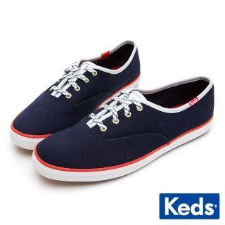 【Keds】CHAMPION 經典撞色滾邊綁帶休閒鞋(海軍藍)