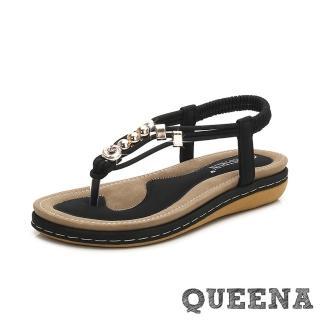【QUEENA】簡約線繩金屬珠飾舒適平底羅馬涼鞋(黑)