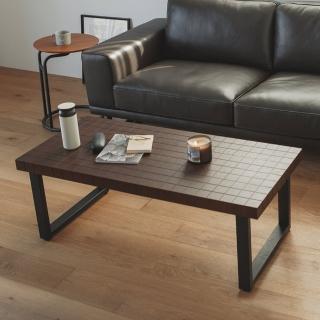 【完美主義】工業風格紋長方形茶几桌/和室桌/矮桌(二色可選)