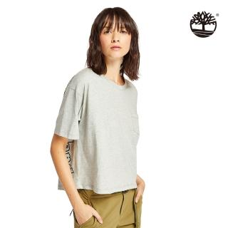 【Timberland】女款淺灰色休閒寬鬆短袖上衣(B5504C81)
