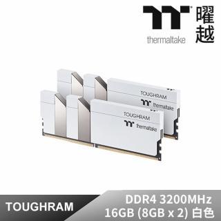 【Thermaltake 曜越】TOUGHRAM記憶體DDR4 3200MHz 16GB 8GBx2白色(R020D408GX2-3200C16A)
