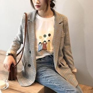 【L'eBeauty】歐美復古格紋寬鬆西裝外套(格紋/知性/休閒/氣質/OL/經典/LBC003)