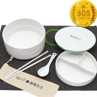 【Mr.nT 無毒先生】安心無毒可微波可電鍋加熱圓形便當盒餐具組(超大容量)