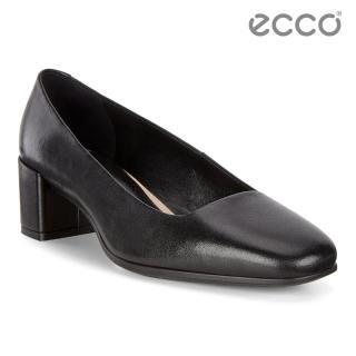 【ecco】SHAPE 35 SQUARED 時裝粗跟方頭高跟鞋 女(黑 29050301001)
