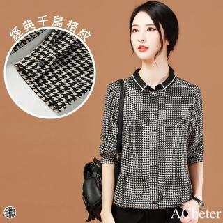 【ACheter】全新登場英倫氣質貴族千鳥細格襯衫#106165現貨+預購(格子)