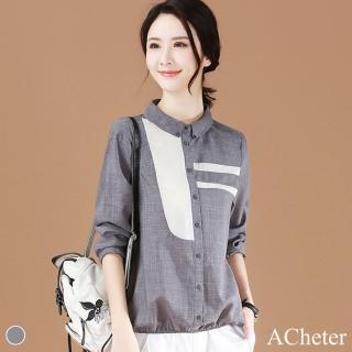 【ACheter】韓國春之語拚色高雅襯衫#106163現貨+預購(灰色)