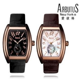 【ARBUTUS 愛彼特】酒桶型典雅玫瑰金機械錶 AR0065