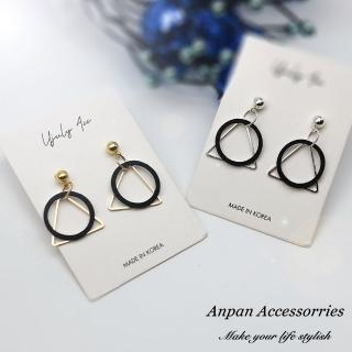 【Anpan】韓國南大門氣質黑環圈幾何夾式 925銀針式 耳環
