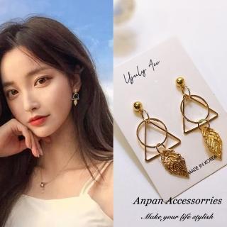 【Anpan】韓國南大門氣質浪漫三角葉圈夾式 925銀針式耳環