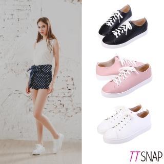 【TTSNAP】休閒鞋-MIT簡約綁帶輕量真皮厚底鞋(黑/白/粉)