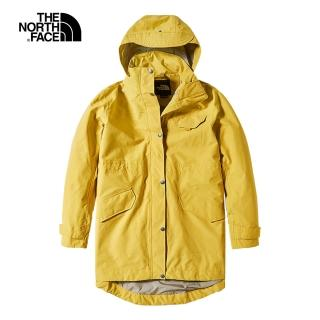 【The North Face】The North Face北面女款芥末黃防水透氣衝鋒衣|497CZBJ
