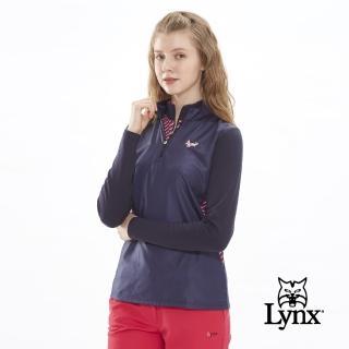 【Lynx Golf】女款柔軟保暖異材質剪接口袋款長袖立領POLO衫(深藍色)