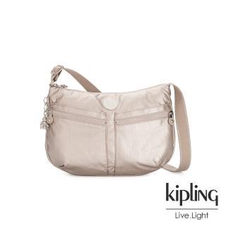 【KIPLING】都會時尚霧玫瑰金雙拉鍊前袋肩背包-IZELLAH