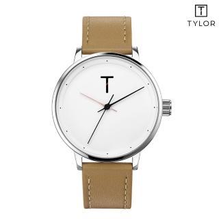【TYLOR】白面銀框駝色皮帶錶(TLAG001)