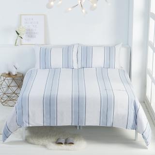 【Yvonne Collection】直條紋枕套(冰灰藍/淺灰白)