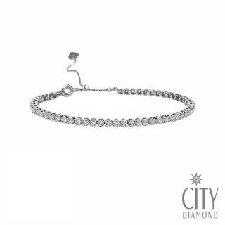 【City Diamond 引雅】18K經典鑽石滿天星滿鑽1克拉白K手鍊(日本專利可調手圍)