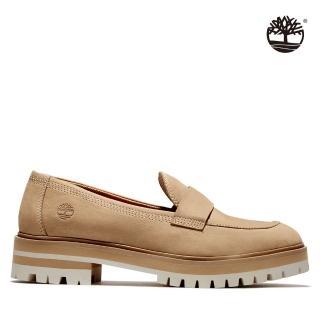【Timberland】女款淺棕色磨砂革休閒跟鞋(A2AK4919)