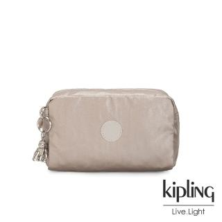 【KIPLING】都會時尚霧玫瑰金長形化妝包-GLEAM