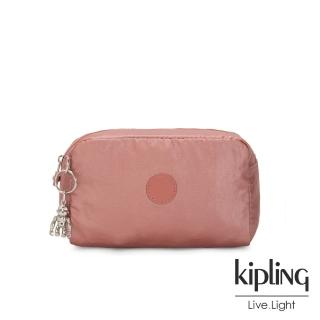 【KIPLING】甜美俏皮蜜桃粉長形化妝包-GLEAM