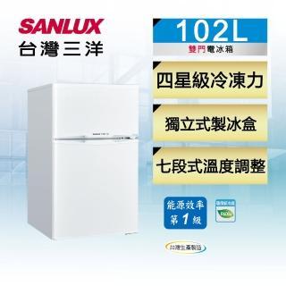 【SANLUX 台灣三洋】102公升一級能效雙門定頻冰箱(SR-C102B1)