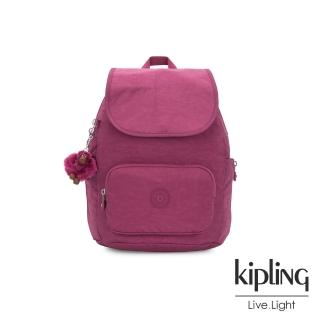 【KIPLING】氣質知性桃紫色翻蓋拉鍊後背包-CAYENNE S