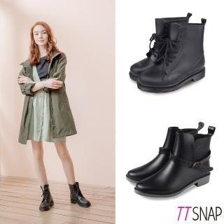 【TTSNAP】雨靴-圓頭繫帶馬汀短筒防水靴(黑)