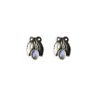 【Georg Jensen 喬治傑生】#108 月光石純銀夾式耳環