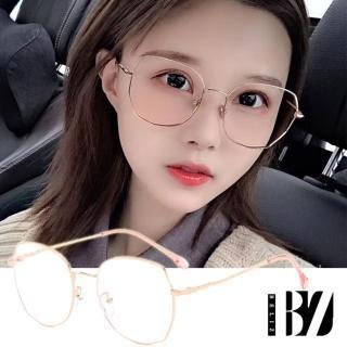 【BeLiz】多角圓框*純色細金屬平光眼鏡/玫瑰金/