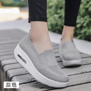 【NEW FORCE】無綁帶飛織氣墊增高鞋-4色可選(增高鞋/氣墊鞋/女鞋/包鞋/飛織鞋)