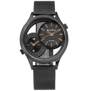 【Roven Dino 羅梵迪諾】鏤空設計 雙時間顯示 米蘭編織不鏽鋼手錶 黑色 43mm(RD785B黑)