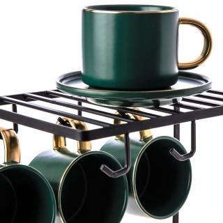 【HOLA】霧光描金六杯六盤組 杯掛架附屬 墨綠色款