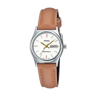 【CASIO 卡西歐】指針女錶 日/星期 日常生活防水 皮革錶帶(LTP-V006L-7B2)