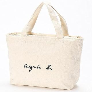 【agnes b.】agnes b. Voyage 帆布 logo 小型托特包 白