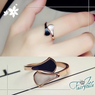 【伊飾童話】黑白珠貝*玫瑰金鈦鋼開口戒指(尺寸可選)